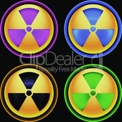 Set of colored icons radiation