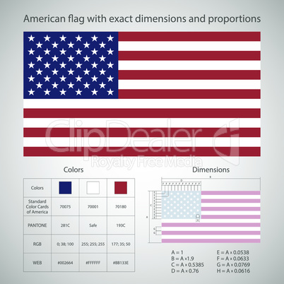 American flag with exact dimensions