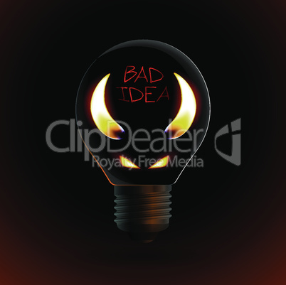 fire silhouette of devil in bulb