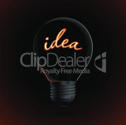 Lightbulb with Idea sign on a dark background