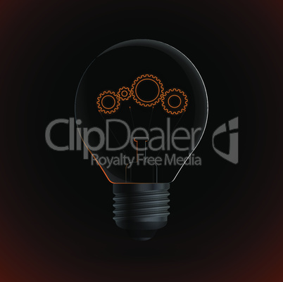 Lightbulb with gear sign on a dark background