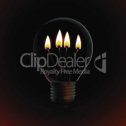 lightbulb with four fire candle on dark background