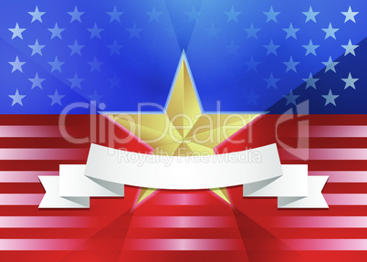 American flag with gold star and ribbon