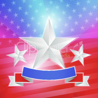 American flag with white stars and ribbon