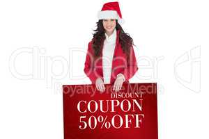 Composite image of cheerful brunette showing white poster