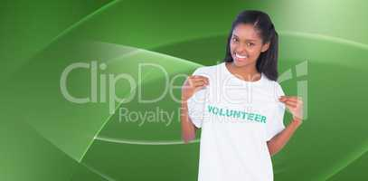 Composite image of young woman wearing volunteer tshirt and poin