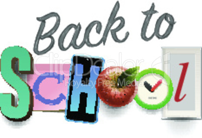 Back to school background with school supplies, collage art craft design, vector illustration.