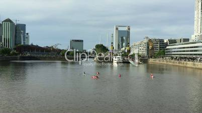 Kayaks recreation in Madero Harbor Buenos Aires City