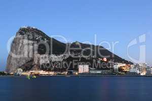 Gibraltar Felsen The Rock Skyline bei Nacht