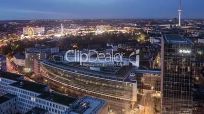 Hamburg City with Hamburger DOM Top View Time Lapse