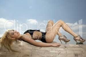 beautiful blonde woman in black swimwear