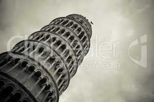 Leaning tower of Pisa in Italy in black and white