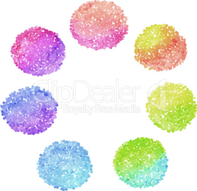 Set of rainbow dotted circles