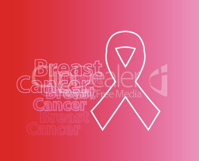 Realistic pink ribbon, breast cancer awareness symbol, on light red backgound. Vector illustration