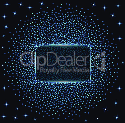 Abstract banner with blue lights and stars