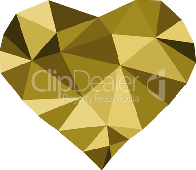 Low poly golden heart