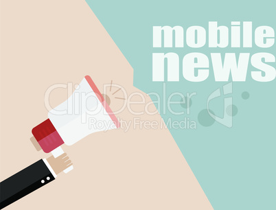 vector flat design business illustration concept. mobile news. Digital marketing business man holding megaphone for website and promotion banners.
