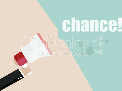 Flat design vector business illustration concept Digital marketing business man holding megaphone for website and promotion banners. Chance.