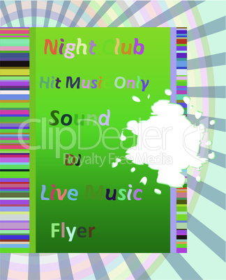 Vertical music party background with colorful graphic elements and text. Vector illustration