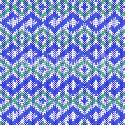 Knitted Seamless Pattern in Blue