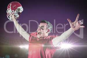 Composite image of a triumph of an american football player with