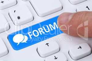 Forum Kommunikation Community Internet Blog Medien Button drück
