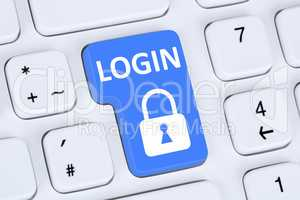 Login Button anmelden mit Passwort online im Internet Web Comput