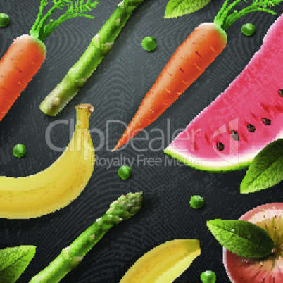 Vegetarian food pattern, fruit and vegetables background, vector illustration.