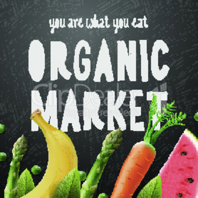 Organic food market, fresh farm food background, vector illustration.