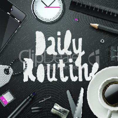 Daily routine, modern office supplies, cup of coffe with in black and white style, vector illustration.