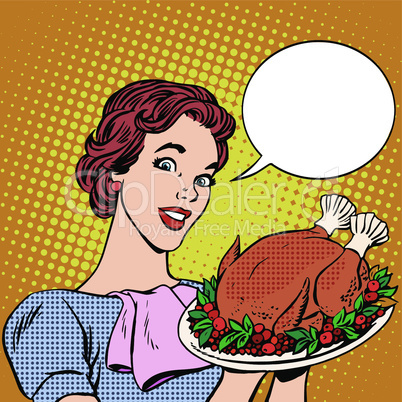 Woman with a Christmas Turkey thanksgiving