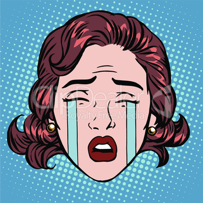 Retro Emoji tears crying sorrow woman face