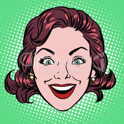 Retro Emoji smile joy woman face