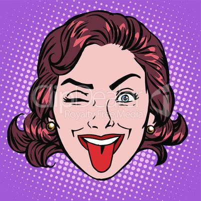Retro Emoji tongue woman face