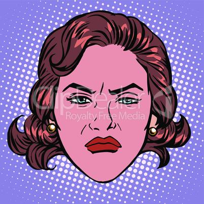 Retro Emoji wicked contempt woman face