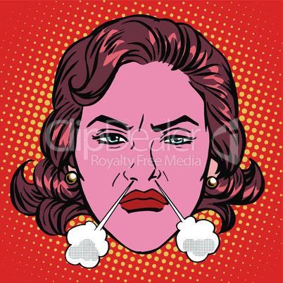 Retro Emoji rage anger boiling woman face