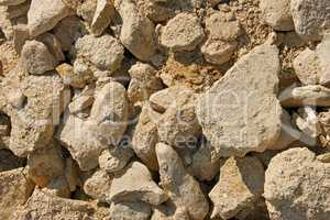 Limestone stones and sand