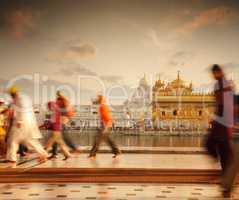 Sikh pilgrims in Golden Temple India