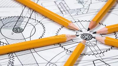 Technical drawing and tools. Shot in 4K (ultra-high definition (UHD))