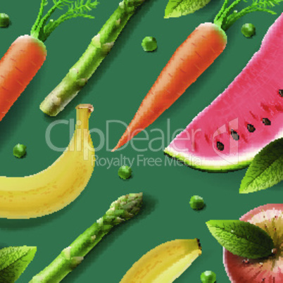 Healthy fresh organic products or advertising poster, vector illustration.