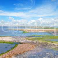 salt lake with healing mud and mineral