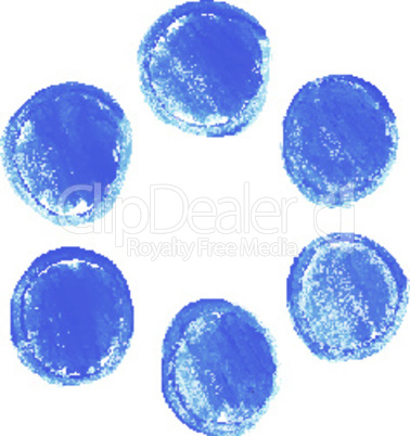 Set of blue acrylic round stains
