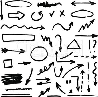 Set of black hand drawn arrows