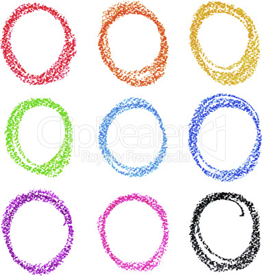 Crayon circle set. Colorful oil pastel.