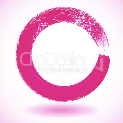 Pink paintbrush circle vector frame