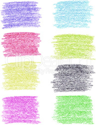 Set of colored pencil spots, isolated on white background