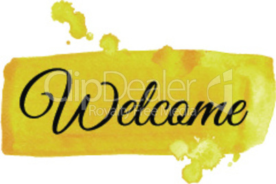 Welcome sign. Watercolor illustration.