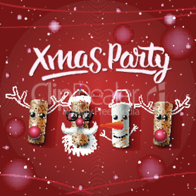 Xmas party template, Christmas characters, Santa Claus, snowman and reindeer, made from wine cork, vector illustration.