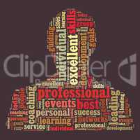 Professional word cloud shaped as a person