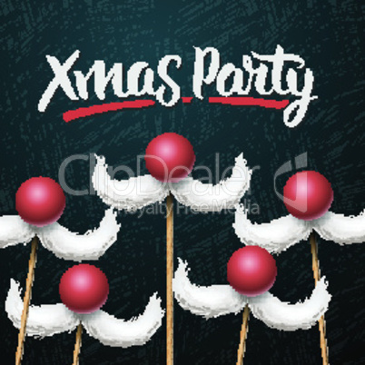 Office Christmas Party card, Santa's moustache, vector illustration.